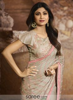 Shilpa shetty taupe saree with taupe designer frill sleeves blouse New Saree Blouse Designs, Saree Jacket Designs, Blouse Designs High Neck, Fancy Blouse Designs, Bridal Blouse Designs, Latest Blouse Designs, Sleeves Designs For Dresses, Stylish Blouse Design, Designer Blouse Patterns