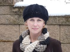 Challah Style Infinity Scarf with Woven Black Cream by lovemyknits, $35.00