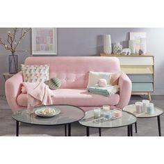 Skandinavischer-Sofa 2/3-Sitzer aus Stoff, rosa | Maisons du Monde