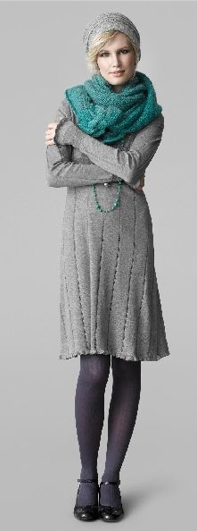 noa noa, teal & grey Comfortable knitted dress, infinity scarf & classic shoes