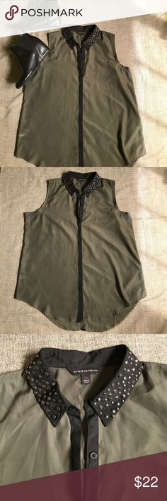 Rock & Republic Studded Collar Top EUC R&R Studded Collar Top in olive green and black. No missing studs. Fits up to XXL Rock & Republic Tops