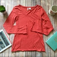 I just discovered this while shopping on Poshmark: Anthropologie Eloise Coral Dot Ruffle Burnout T. Check it out! Price: $30 Size: M