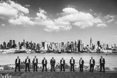 Groomsmen overlook New York City - Hoffer Photography. I'd love to do this with a bridal party using the Philly skyline.