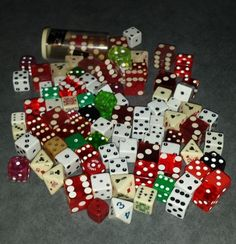 large collection of vintage dice