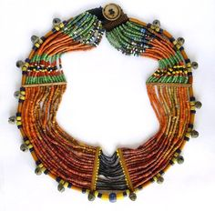 Naga multistrand glass bead and bronze necklace.