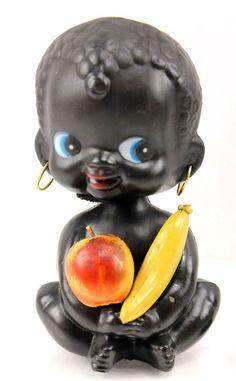 Vintage Sitting with Fruit Negro Black Americana BOBBLE HEAD Nodder BANK