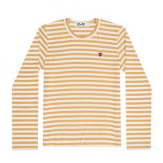 21375c4f Play Comme des Garçons Colour Series Little Red Heart Striped Long-sleeved  T-Shirt (Yellow/White)