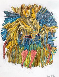 new ribbon monster dude original art on paper.