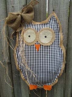 Owl Burlap Door Hanger Door Decoration Mixed Media by nursejeanneg, $30.00