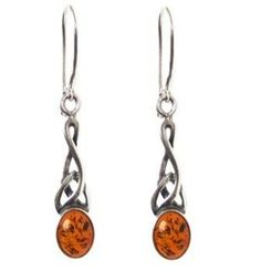 Honey Amber Sterling Silver Small Celtic Oval Drop Earrings ** Click image to review more details.