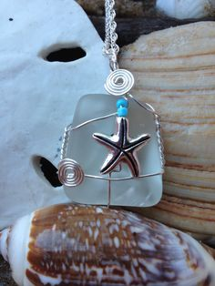 428 Starfish on clear seaglass