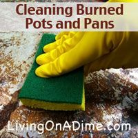 Cleaning Burned Pots and Pans - How to save your beloved pots and pans when you've charred the heck out of them! For less and .25 you can save them!
