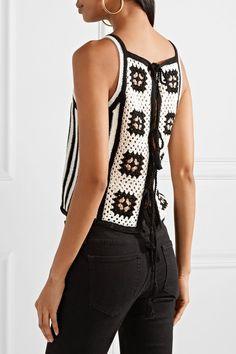 ELEVEN SIX - Alexia Tie-back Crocheted Pima Cotton Tank - White