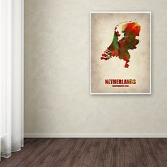 Netherlands Watercolor Map by Naxart Painting Print on Wrapped Canvas
