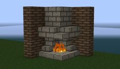 minecraft house ideas- fireplace