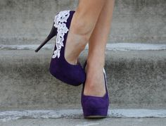 These were my wedding shoes!!!  Reserved for Courtney Andrews - Purple Heel with IVORY Venise Lace Applique - size 8. $59.00, via Etsy.