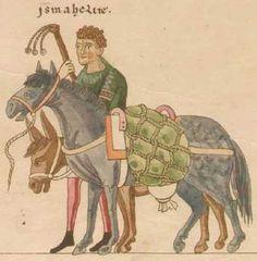hortus deliciarum 12th c  laden pack horses.