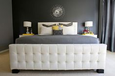 Bedroom white-wooden-bad-gray-soft-mattress-white-table-lamp-white-pillow-gray-pillow-gray-concrete-wall-white-garnish-white-fur-rug-gray-draperies-little-white-chest-of-drawer-gray-blanket Elegant Gray With Yellow Combination Bedrooms