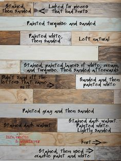 Life Crafts & Whatever: My plank wall, finally, a clear, easy to follow picture of a board wall done in various techniques to achieve an original finish. #rustic #plank #wall!