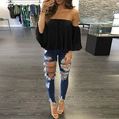 30+ Examples How to Wear Off The Shoulder Tops, Black off shoulder top with ripped jeans and heels, Cute casual outfits, outfit ideas