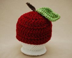 crochet apple hat-just need a diaper cover
