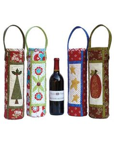 Dress up a wine bottle to give to a freind! This wine bag is functional for decorative purposes and great to give as a gift. It is also fat quarter friendly. Use buttons to add a decorative touch.