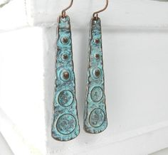 Love these! Long Dangle Earrings  Mayan Turquoise Copper Patina by BeadzNBling
