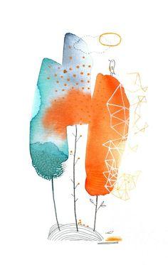 These shapes have a soft paste quality Abstract Watercolor Art, Watercolor And Ink, Watercolor Paintings, Art And Illustration, Watercolor Illustration, Illustrations, Art Fantaisiste, Flower Doodles, Art Graphique