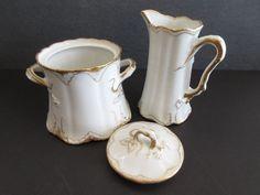 Haviland Limoges Lidded Sugar & Creamer White Gold Scrolls Schleiger 133 Thayer  #TheodoreHaviland www.somesilversomegold.com