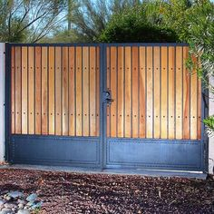 Redwood Wood Gate - First Impression Ironworks Front Gate Design, Steel Gate Design, House Gate Design, Metal Gates, Wrought Iron Fences, Wooden Gates, Front Gates, Entrance Gates, Home Fencing