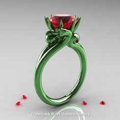 Scandinavian-Dragon-14K-Green-Gold-3-Carat-Ruby-Engagement-Ring-R601-14KGGR-P