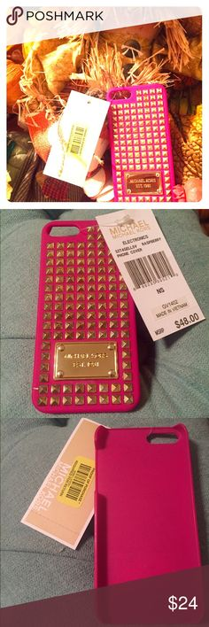 MICHAEL Kors IPhone 5 Gel Raspberry Studded Cover MICHAEL Kors MK Gel IPhone 5 Gold Studded  Raspberry / Hot Pink Phone Cover! Beautiful Cell phone cover! Very Classy! MK Gold Plate. Brand New With Tags. Bought at Dillards and never used. Michael Kors Accessories Phone Cases