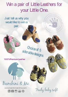 Win a pair of Little Leather shoes! Just tell us which pair of little feet you would like to put our Little Leather shoes on and we will enter you into the draw. 100% premium leather. 0-18 months ‪#‎trulybabysoft‬ ‪#‎giveaway‬
