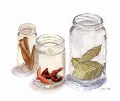 Spice Jars - Watercolor 10x8 Print