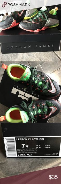 Gently used Lebron XII Low (GS) Green/salmon/black kid's Lebron's; also fits women sizes 7-8 Nike Shoes Sneakers