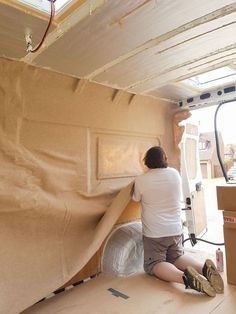 We decided that rather than paneling the van walls with wood, we would carpet it to get a better finish...