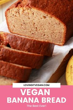 This easy vegan banana bread is the best ever! Its moist on the inside crispy on the outside and simply fabulous served warm from the oven and spread with vegan butter. Enjoy this banana bread for breakfast or as a sweet afternoon treat it's so good! Vegan Banana Bread, Vegan Bread, Banana Bread Recipes, Vegan Butter, Zucchini Bread, Vegan Recipes For One, Delicious Vegan Recipes, Yummy Food, Vegetarian Recipes