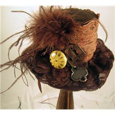 Brown Lace Steampunk Mini Top Hat - MCI-6522 by Medieval Collectibles