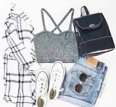 tank top grunge summer fall outfits flannel bralette bag purse denim converse…