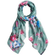 Joules Wensley Scarf, Blue Posy (2.010 RUB) ❤ liked on Polyvore featuring accessories, scarves, blue posy, blue scarves, floral shawl, blue shawl, floral scarves and floral print scarves