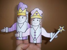 King & Queen puppets made from toilet paper rolls to be used along with the story of Esther for a Sunday School craft.