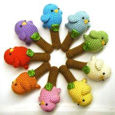 Bird crochet rattles. Cute!! Amigurumi style