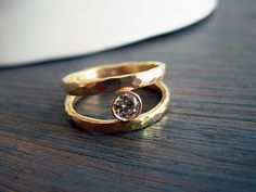 Double hammered gold and diamond ring