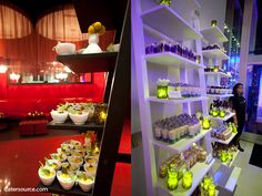 Bookcase presentations from the PURE Sensation party by Catering by Design.