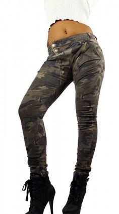 Mozzaar Damen Luxus Jeans Hose Skinny in beige verwaschen
