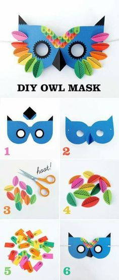 Paper Owl Mask, Paper Owl Mask Máscara de coruja em papel com gabarito para imprimir .Great art and craft kits and nursery decor gillsonlinegems. Kids Crafts, Projects For Kids, Diy For Kids, Craft Projects, Arts And Crafts, Paper Crafts, Craft Ideas, Bird Paper Craft, Craft Kits For Kids