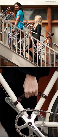 "Bike Frame Handle - The original bicycle frame (a.k.a. ""The Little Lifter""!) is a comfortable, stylish, sturdy, and easy-to-use leather handle for carrying your bicycle, whether it's up the stairs, across the tracks, or onto the metro."