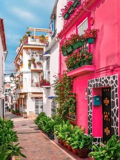 I'm mentally strolling down this street of old town Marbella in Spain, looking about this amazing pink and thinking how close it is the the… Places Around The World, Oh The Places You'll Go, Travel Around The World, Places To Travel, Around The Worlds, Marbella Old Town, Wonderful Places, Beautiful Places, Voyage Europe