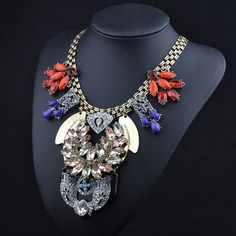 N00421 Brand Europe and America Big Punk Colorful Rhinestone Vintage choker Necklace collar statement Pendants Necklace jewelry