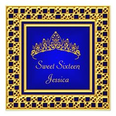 Sweet 16 Birthday  Royal Blue Gold Silver Tiara Personalized Invite